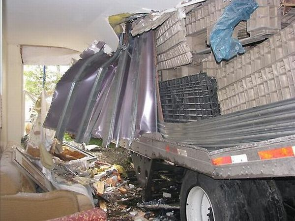 Truck Flipped On A road crashing into motel