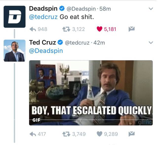 Deadspin Didn't Expect Ted Cruz To Be That Badass