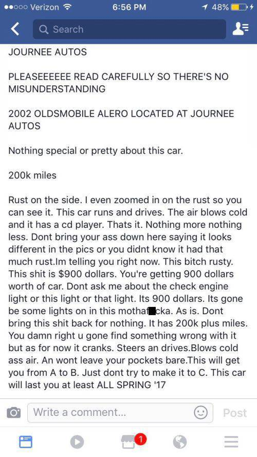 Brutal Honesty In A $900 Car Ad