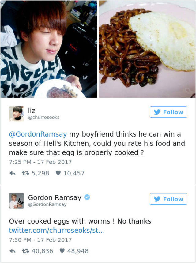 Gordon Ramsay Never Gets Tired Of Roasting... Both Food And People On Twitter
