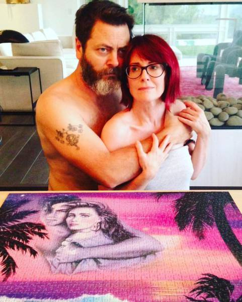 Nick Offerman And Megan Mullaly Show How To Be A Perfect Couple Using Only Puzzles