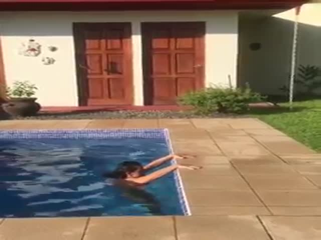 She Shows You The Most Elegant And Graceful Way To Get Out Of And Dive Back Into The Pool!