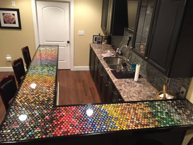 5 Years. 2530 Beer Caps. Perfect Bar Top For The Kitchen!
