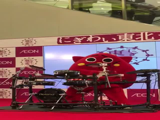 This Japanese Mascot Let All Hell Loose With His Drumming