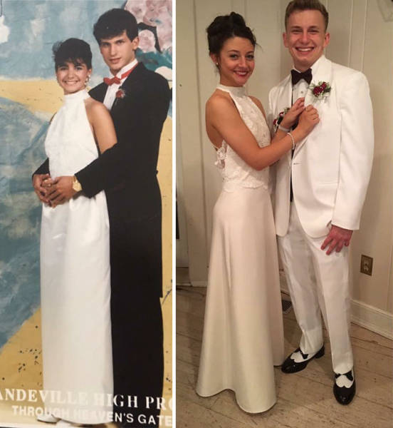 These Girls Didn't Have To Bother With Their Prom Outfits, As They Are Gorgeous In Their Moms' Vintage Ones!