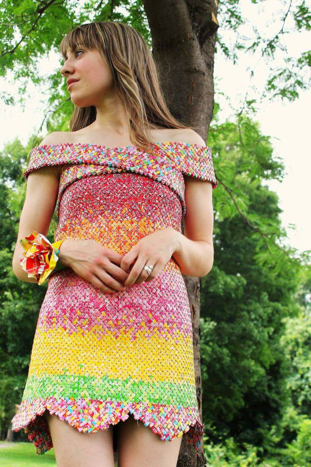 This Awesome Dress Was Made By Using Over 10000… Candy Wraps!
