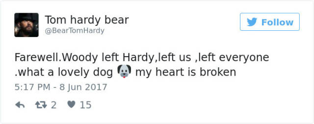 Tom Hardy Touched The Very Depths Of The Internet's Soul With An Eulogy He Wrote For His Dog