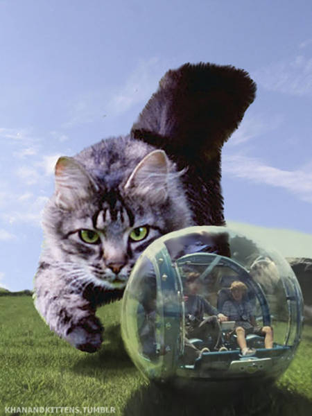 Jurassic Park Is Even Scarier (Or Cuter) Aith Giant Cats Instead Of Dinosaurs!