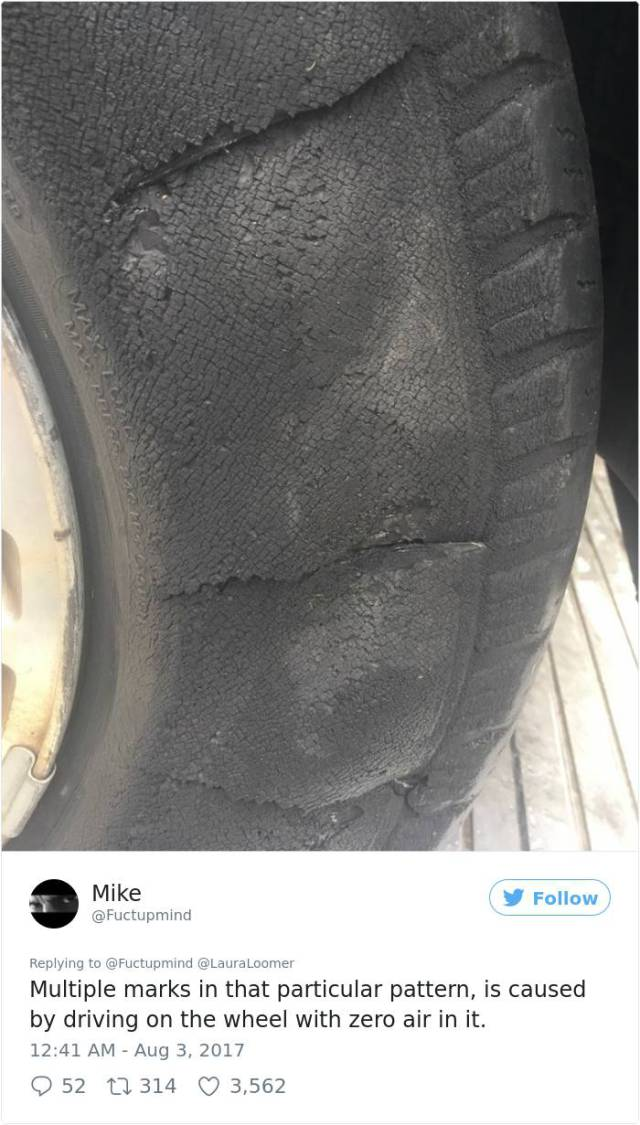 Fake Slashed Tire Exposed By The Twitter User