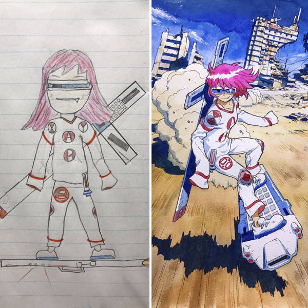 Dad Turns His Sons' Drawings Reimagined Into Anime Characters