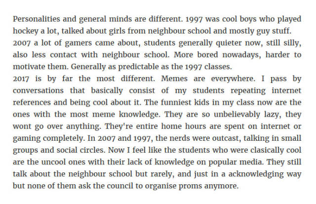 Teachers Reveal Both Hilarious And Terrifying Truth About Students In 1997, 2007 And 2017