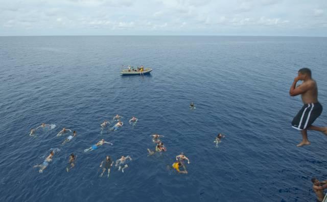 Marines Always Swim In The Best Of Places