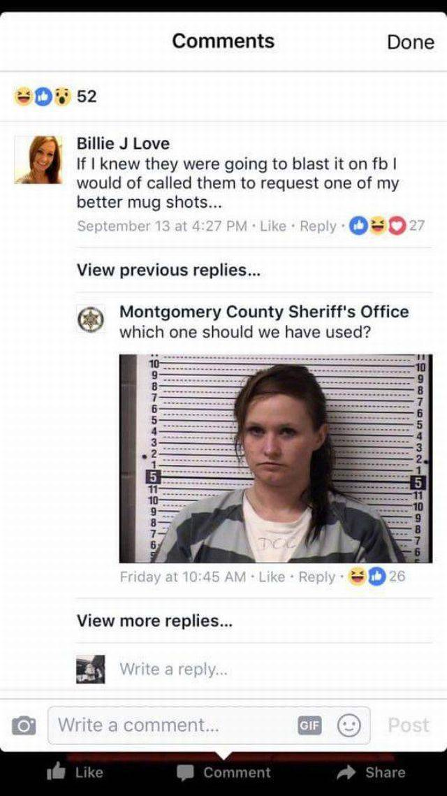 She Shouldn't Have Asked Sheriff's Dept. For A Better Mugshot