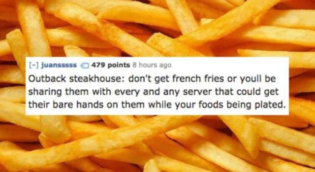 Workers At Chain Restaurants Know What You'd Better Not Eat