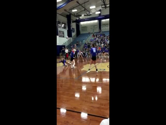 Unbelievable Save In High School Volleyball