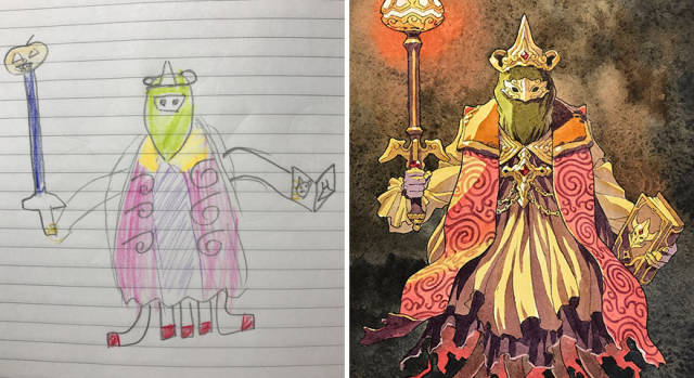 This Dad Takes His Amazing Ideas For Comics From His Son's Drawings