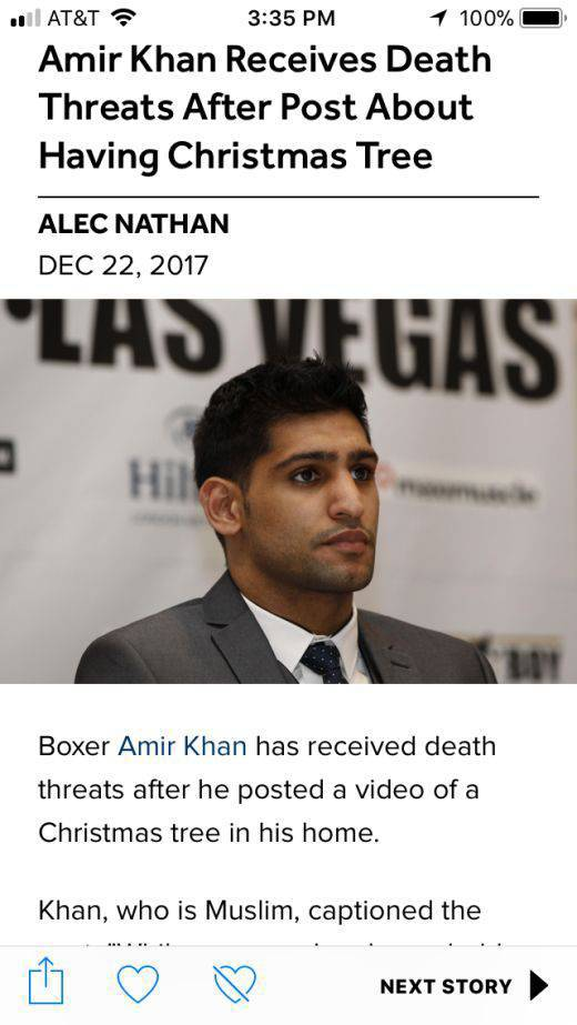 Muslim Boxer Amir Khan Faces Death Threats For Putting Up A Christmas Tree