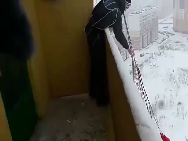 Russian Parachutist On Top Of A High-Rise Building