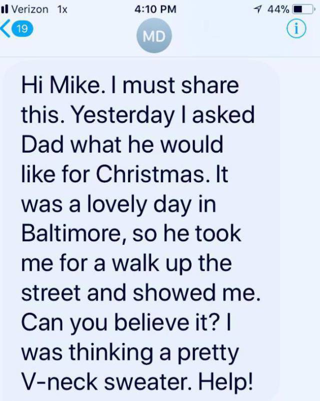 Mike Rowe's Mom Texts In Great Style And Humor!