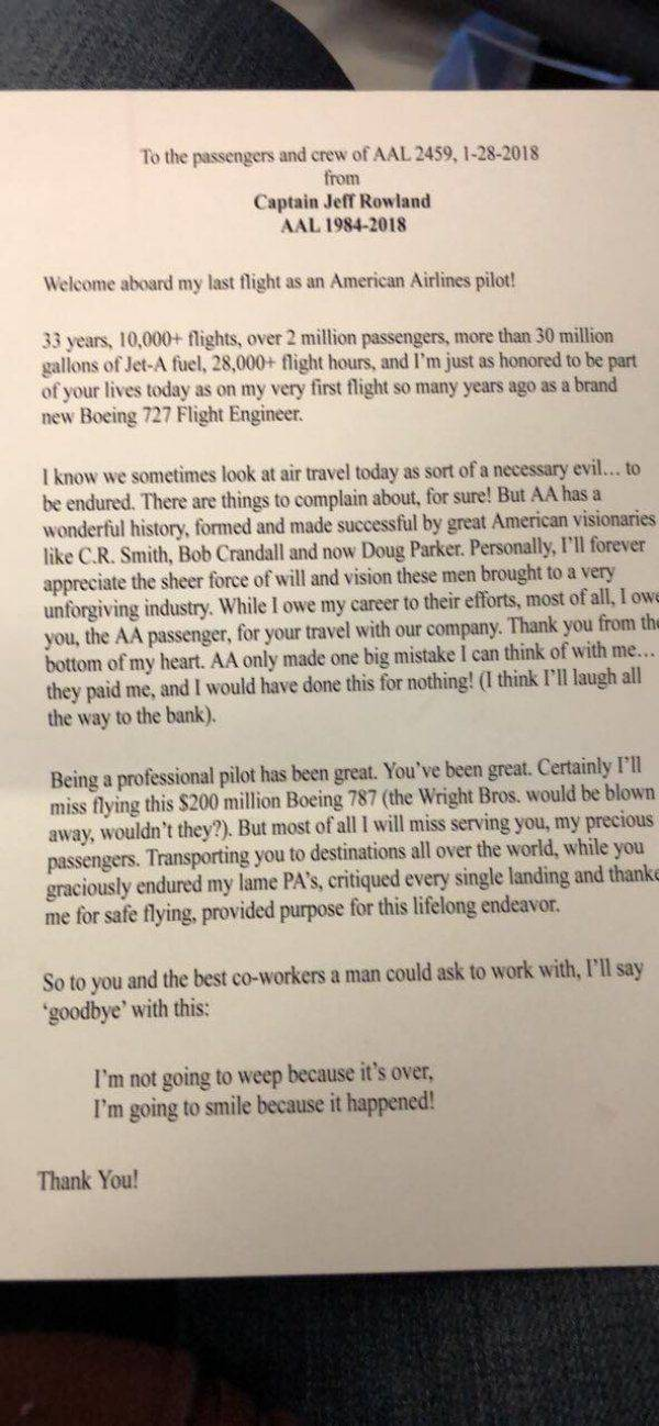 Pilot Has Written A Letter To Passengers Flying On His Last Flight