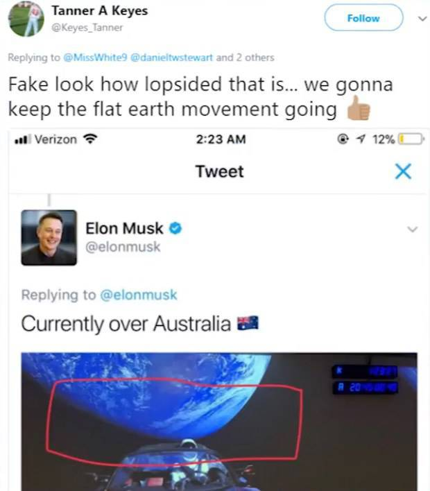 Nothing Can Convince The Flat Earthers, Not Even Tesla In Space