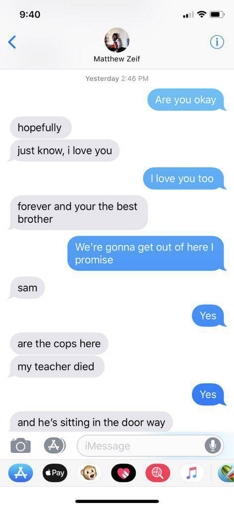 Texts Between Two Brothers Amidst Florida High School Shooting Is Something Way Too Emotional