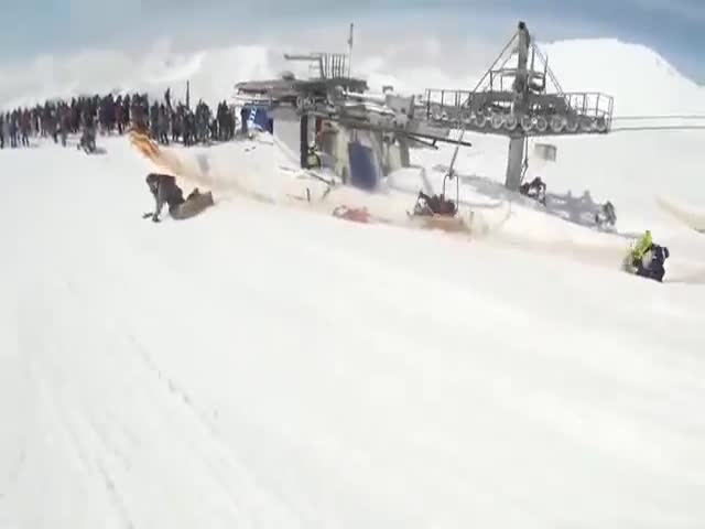 Gudauri, Georgia Ski Lift Accident From Another Perspective