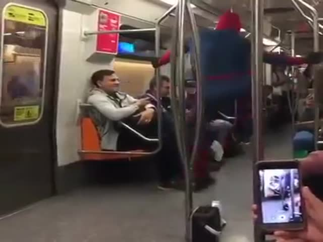 Just A Casual Spiderman Dancing In Chilean Subway