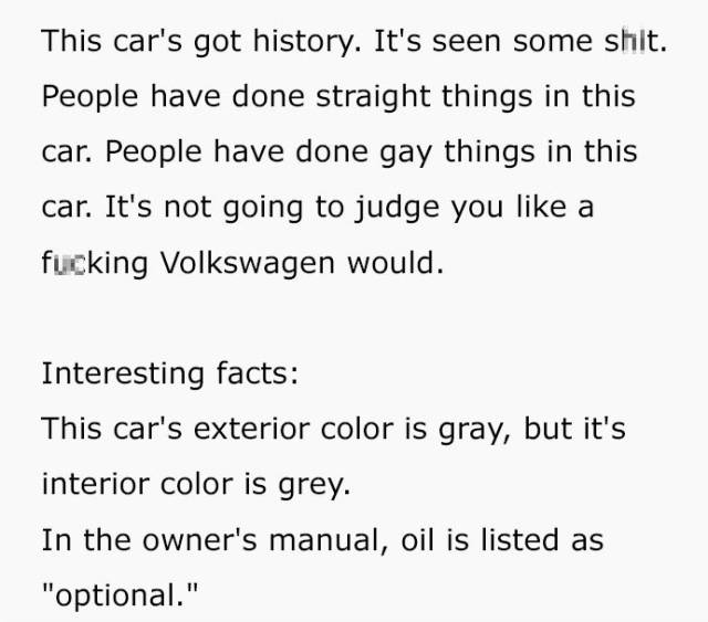 Used Car Couldn't Be Advertised More Effectively