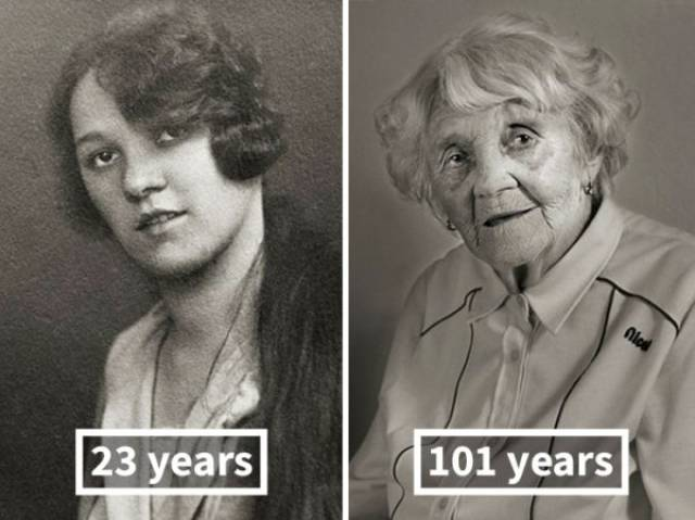 Photographer Showed How People Who Are Now Over 100 Years Old Changed Since Their Prime