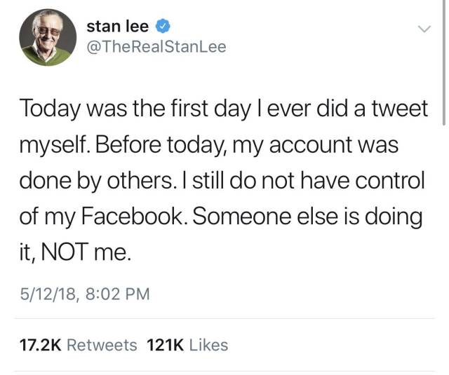 Stan Lee Got His Hands On Twitter