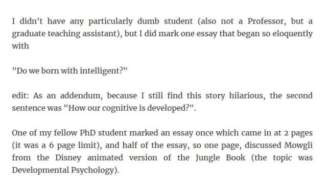 Professors Have To Deal With All Sorts Of Dumbest Students
