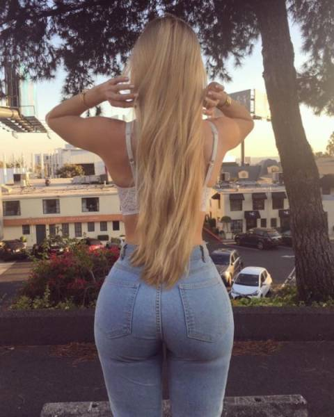 Tight Jeans Are Barely Holding There