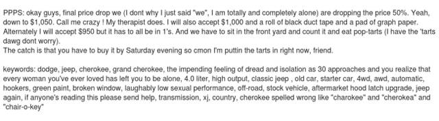 Guy Finds The Only Way To Sell His 96 Jeep 'Range Rover' Cherokee
