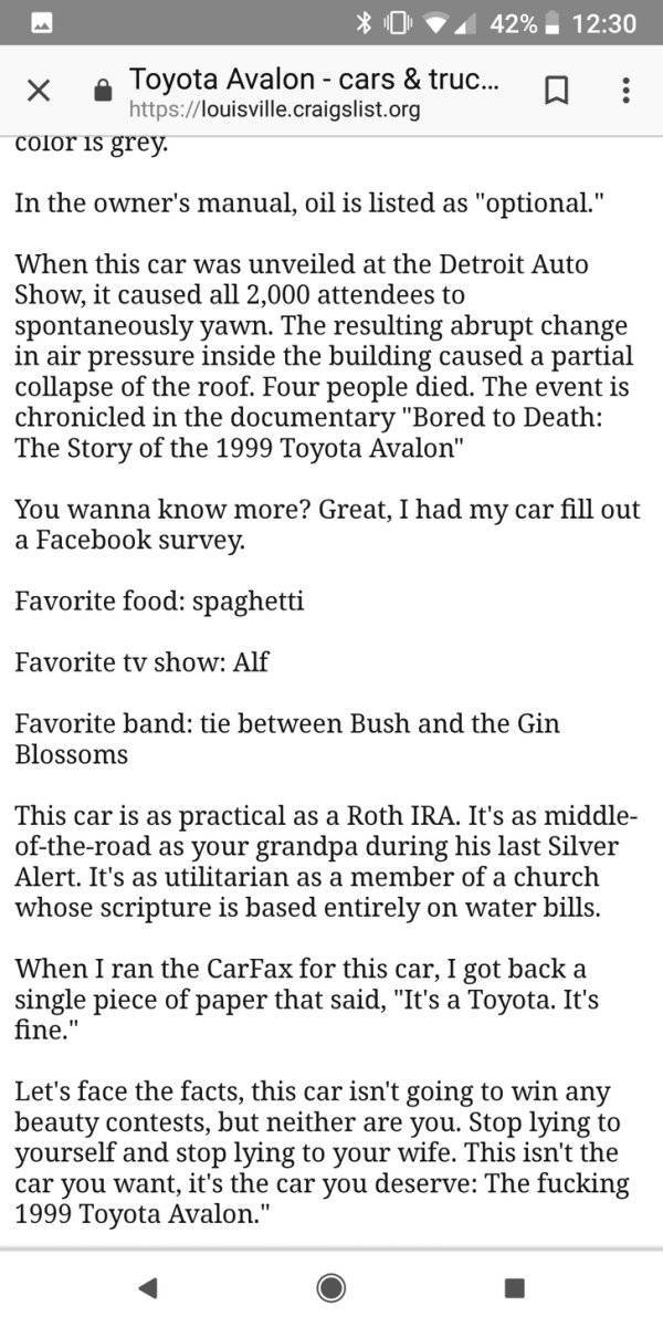 Toyota Avalon 1999 That Has THE Best Ad On Craigslist (4