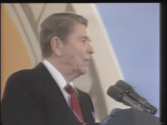 Ronald Reagan Reacts To A Balloon Popping During His Speech, Two Months After He Was Shot