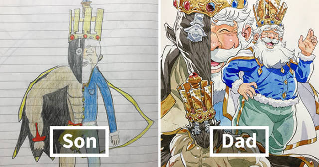 Artist Professionally Transforms His Sons' Doodles Into Amazing Cartoon Characters