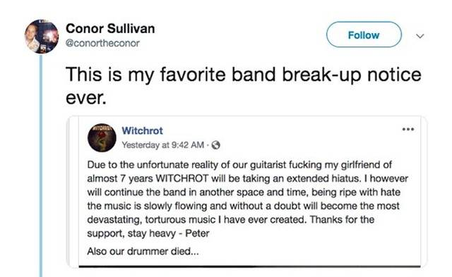 There Will Never Be A Better Band Break-Up Notice