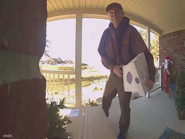 UPS Delivery Guy Spots A Doorbell Camera