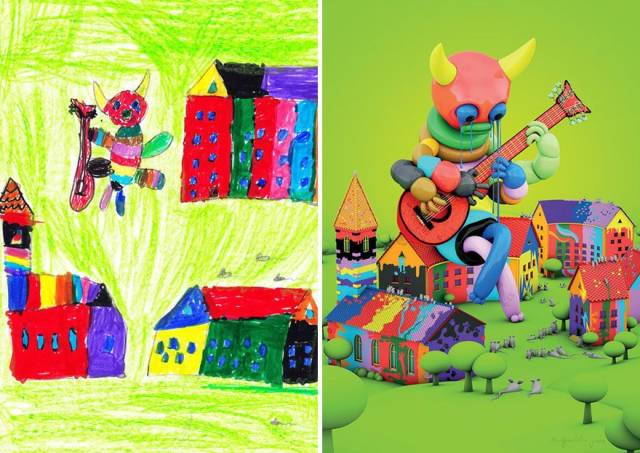 When Artists Add Their Professional Touch To Kids' Monster Doodles