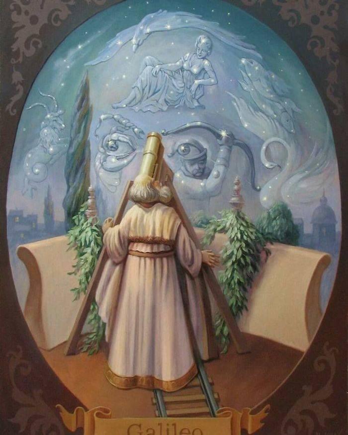 optical illusions famous draw past artist ukrainian masterfully uses illusion twisting mind galilei galileo paintings izismile
