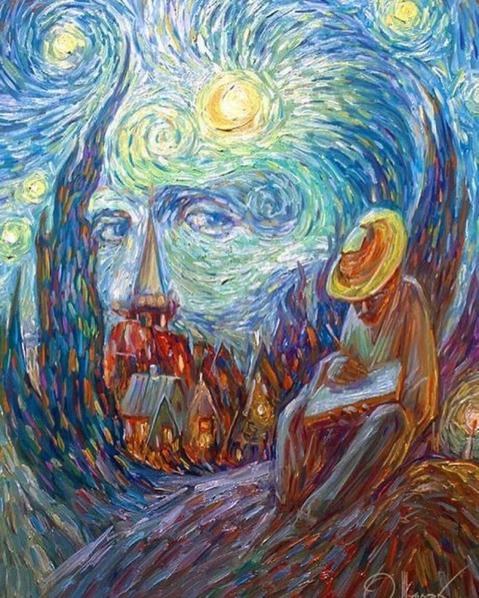 optical illusions famous oleg paintings shuplyak artist draw past uses illusion gogh van ukrainian masterfully portraits vincent loving shupliak izismile