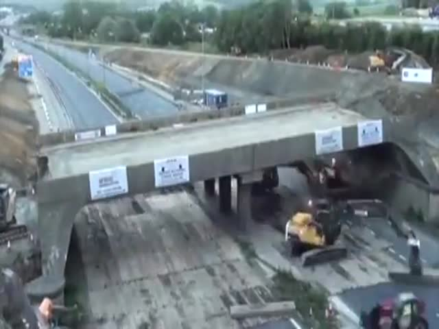 15 Hours Of Bridge Demolition In Time Lapse