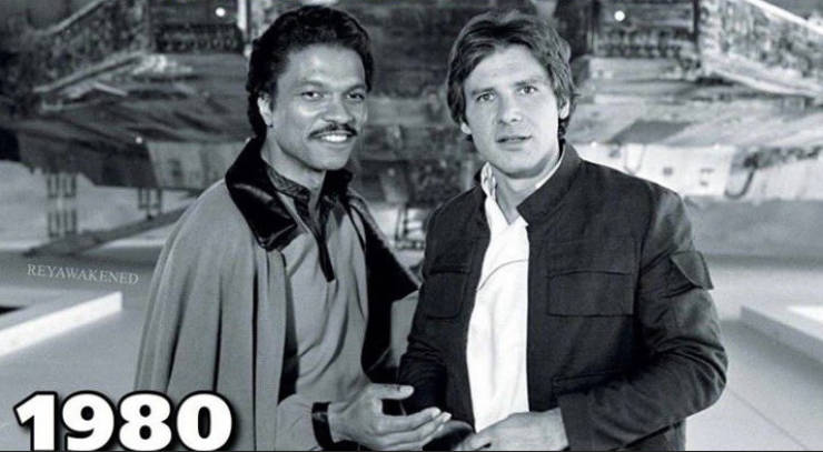 Harrison Ford And Billy Dee Williams In 1980 And Now