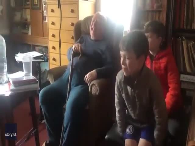 Grandad Surely Enjoys The Company Of His Young Boys