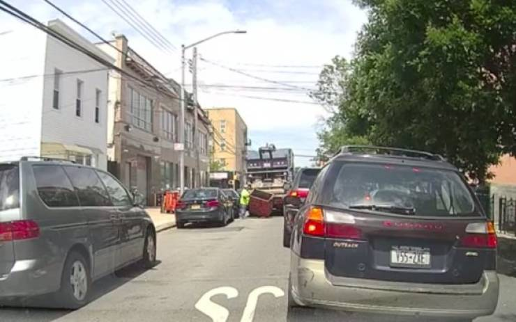 Garbage Truck Damages A Parked Car, But Can't Escape Unnoticed