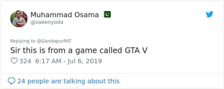 Pakistani Politician Posts A Video From GTA V Thinking It Was Real