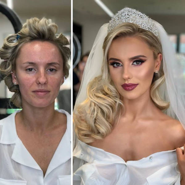 Brides Before And After Their Wedding Makeup