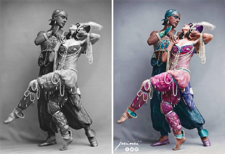 A művész a fekete-fehér fényképeket színezi, hogy még több életet adjon a történelmi fényképekhez