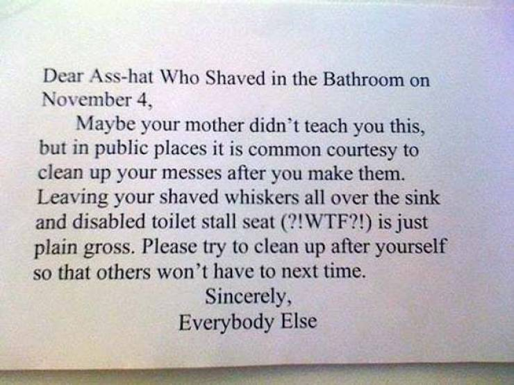 So Much Passive Aggression In These Bathroom Notes…